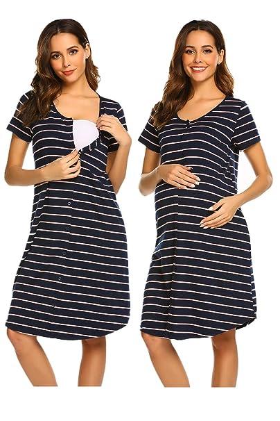 da243235a UNibelle Camisón Embarazada Maternidad Lactancia Pijama Manga Corta  Hospital Mujer Embarazada Ropa para Dormir Premamá S-XXL  Amazon.es  Ropa y  accesorios