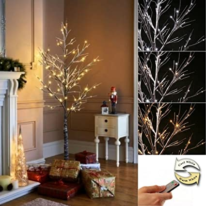Jaymark Products 6ft 180cm Pre Lit Remote Controlled Christmas Twig Tree 96 Warm White Cool White Led S
