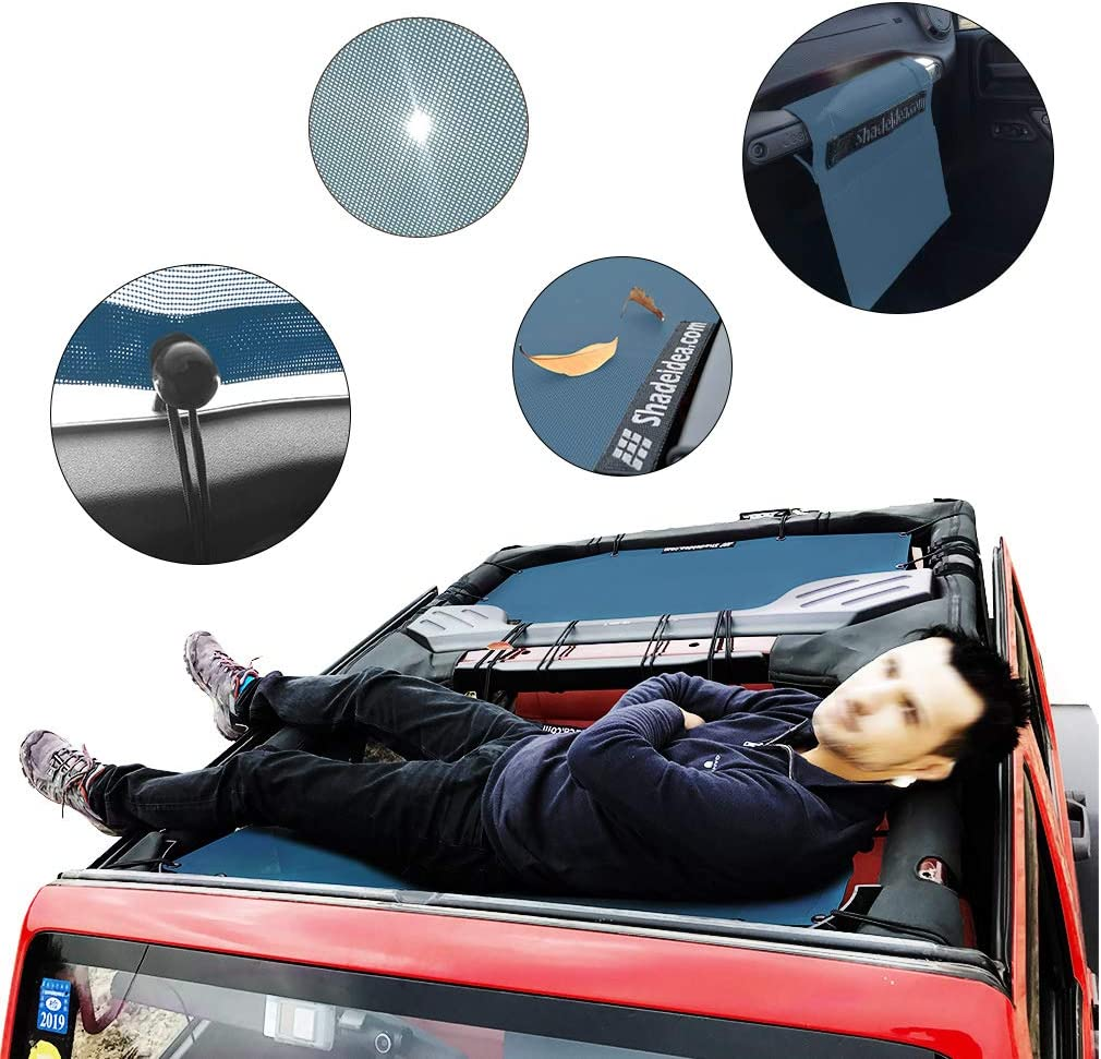 Shadeidea Jeep Wrangler Sun Shade JK Unlimited 4-Door Front /& Rear-Gray Mesh Screen Sunshade JKU 4D 2007-2018 Top Cover UV Blocker with Grab Bag-10 Years Warranty