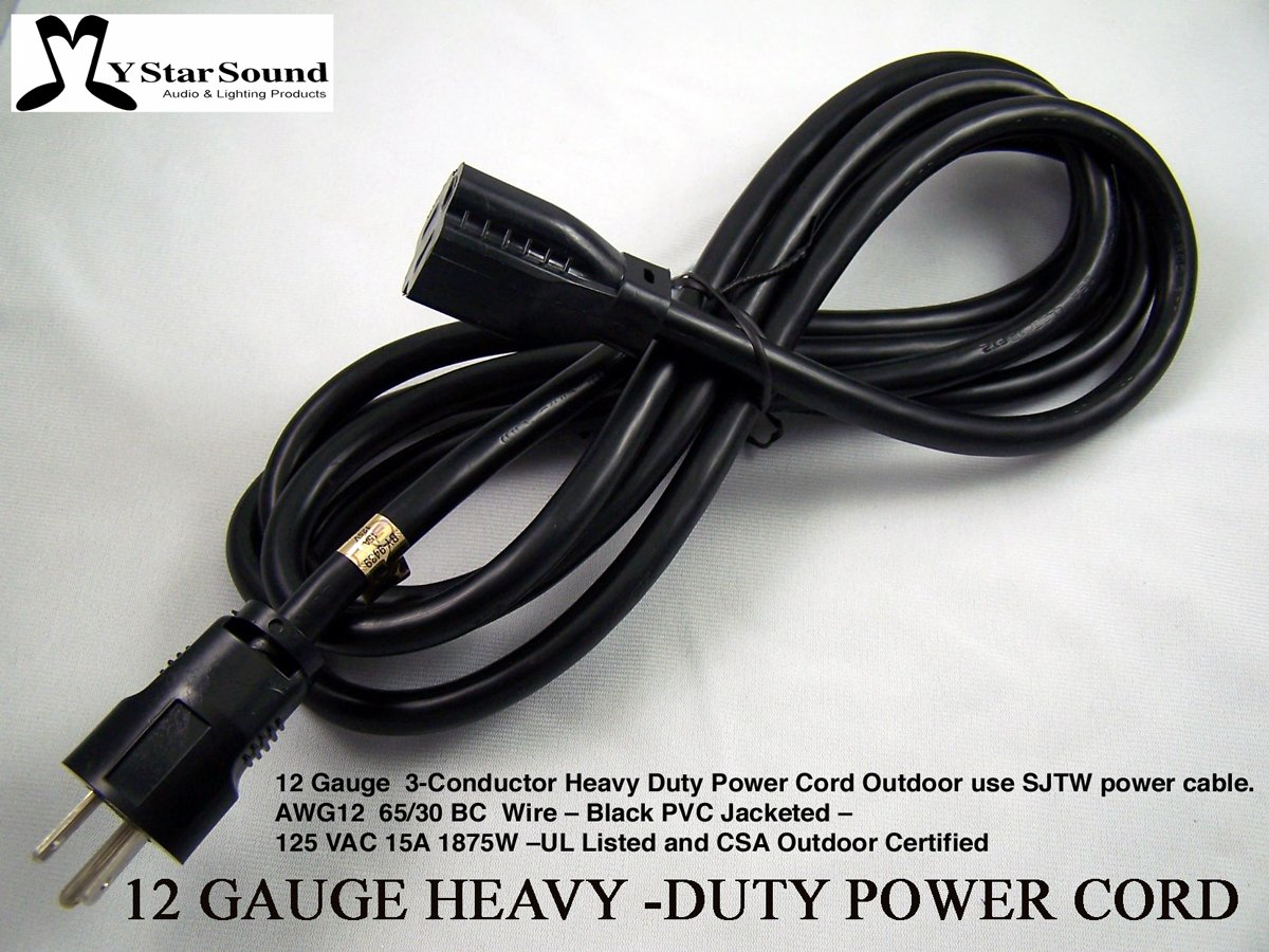 Extension Power Cord 5' Heavy Duty 12 Gauge 3 Conductor Rated for Outdoor Use. Great for Live Entertainment & Motor Home Power Sjtw