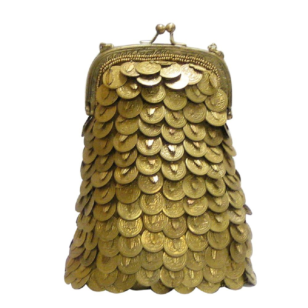 David Jeffery Handbag - Gold Medallions With Chain Strap, 6''L x 8''H.