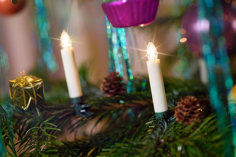 50-er Set LED Weihnachtskerze Elfenbein/Creme, Dimmbar, Flackermodus, Timer, GS - kabellose Weihnachtsbaumbeleuchtung für Innen- und Außen (50er Set Elfenbein/Creme (2x 25er Set)) 50er Set Elfenbein / Creme (2x 25er Set)