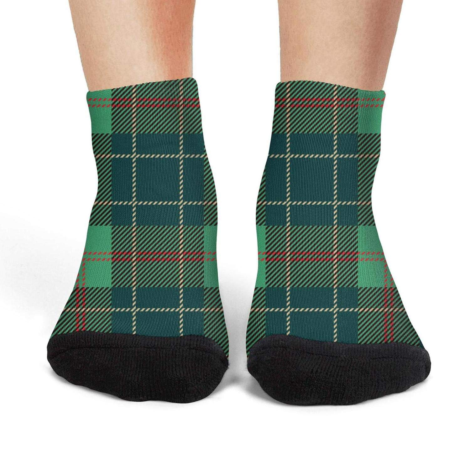Mens athletic low cut Ankle sock Green Red Lattice British Plaid Non-Slip Breathable Short Sock