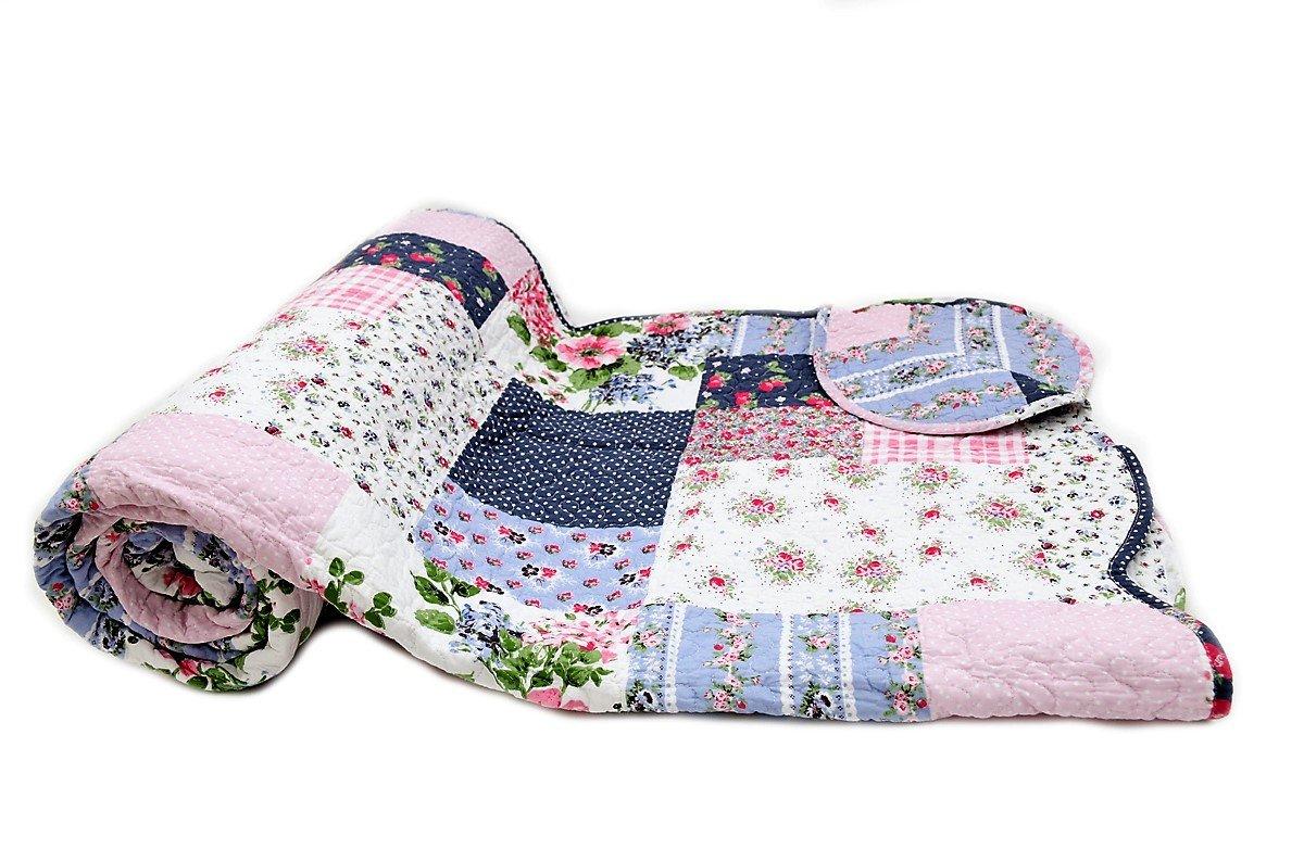 1001 Wohntraum D-12 Quilt Jana Blumen, Plaid Tagesdecke, Patchwork Vintage Shabby Decke, bunt (220 x 240 cm)
