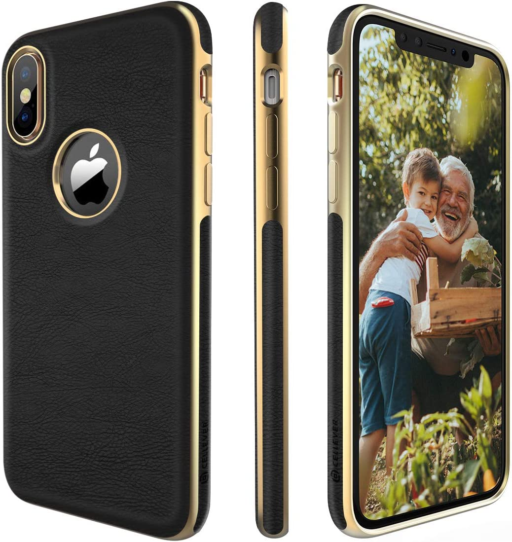 CellEver iPhone Xs Case, iPhone X Case Premium Leather Guard Slim Scratch-Resistant Anti-Slip Luxury Vegan Leather Cover for Apple iPhone X/iPhone Xs (5.8-Inch) - Black/Gold