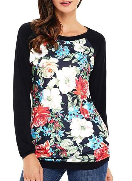 AILIENT Blusas y Camisas Mujer Estampadas Flores Camiseta Tops con Mangas Largas Camisetas Modernas Slim Tshirt