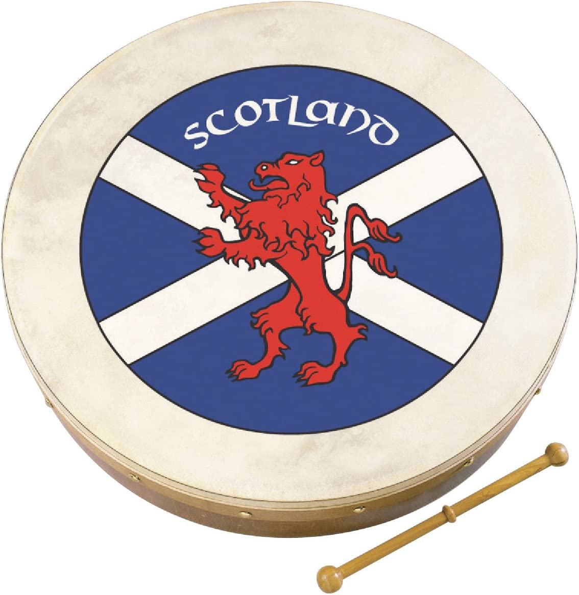 10AWAL-2368 Waltons 12 Scottish Flag Saltaire Crest Tuned Bodhran
