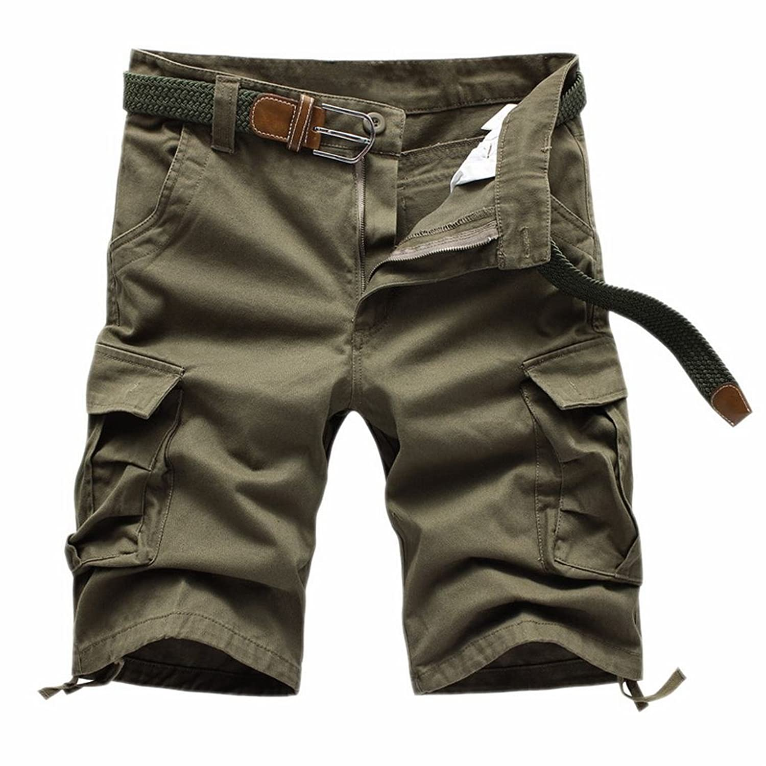 MLG Men Solid Cotton Straight Multi-Pocket Cargo Short