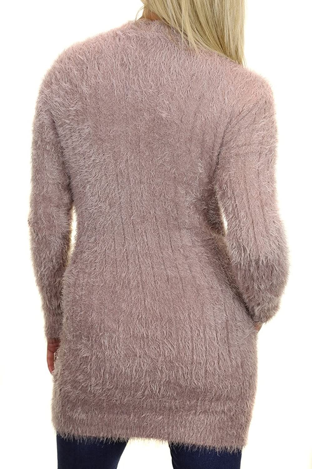 ICE (7499-5) Fluffy Hair Knit Long Tunic Jumper Crew Neck Beige (ML)