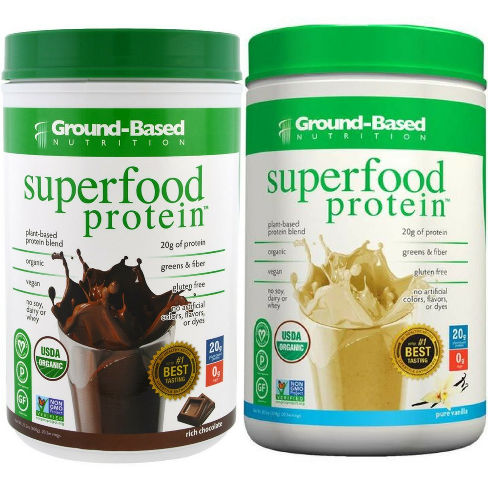 Ground-Based Nutrition Organic Plant Based Superfood Protein Powder Zero Carb Vegan Greens Raw Food All-Natural Sugar-Free Non-GMO Chocolate Vanilla 2 Tubs by Ground-Based Nutrition