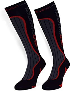 VeloChampion Chaussettes de compression - Noir - Compression Sports Socks - Black - For Running, Cycling, Triathlon Maxgear Limited
