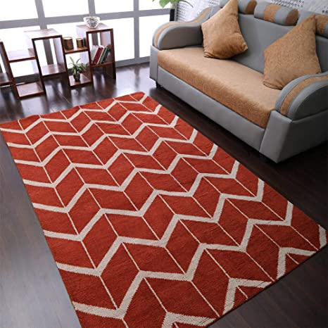 Amazon Com Rugsotic Carpets Hand Knotted Wool 5 X8 Area Rug Geometric Red Beige N01052 Kitchen Dining