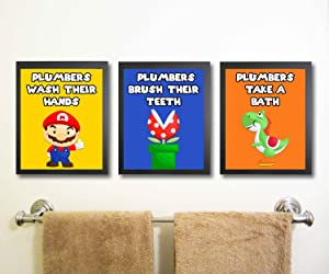Silly Goose Gifts Plumber Hero Video Game Bathroom Wall Art Decor (Set of Three)