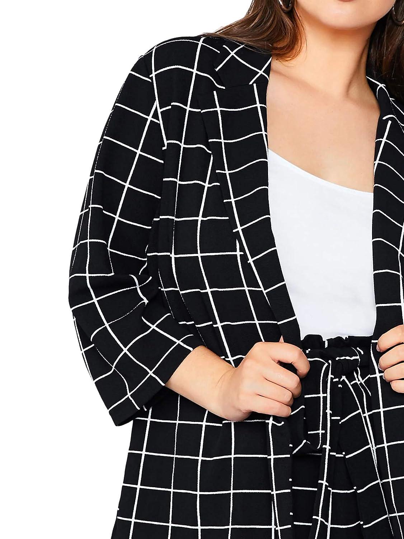 MAKEMECHIC Womens Plus 2 Piece Outfits Elegant Plaid Blazer with Paperbag Shorts Set