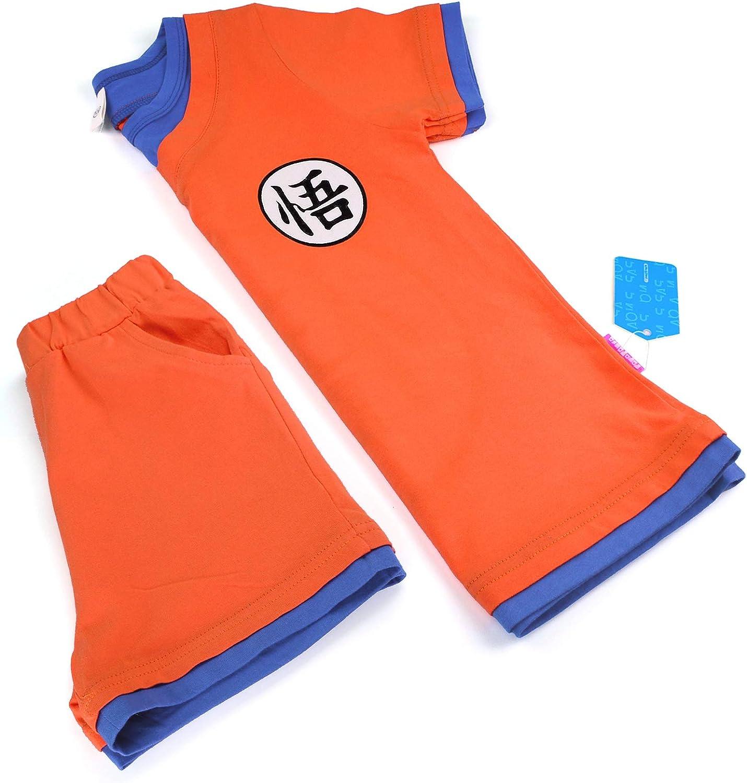 papapanda Kids Costume for Son Goku Training Suit T-Shirt Shorts Orange Blue