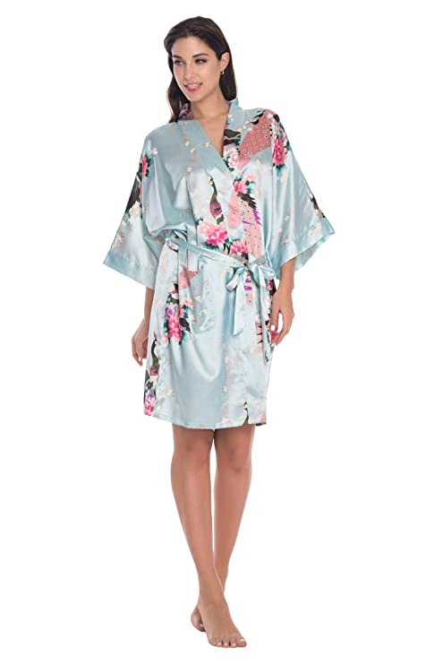 KimonoDeals Women\'s dept Satin Short Bridesmaid Kimono Robe with ...