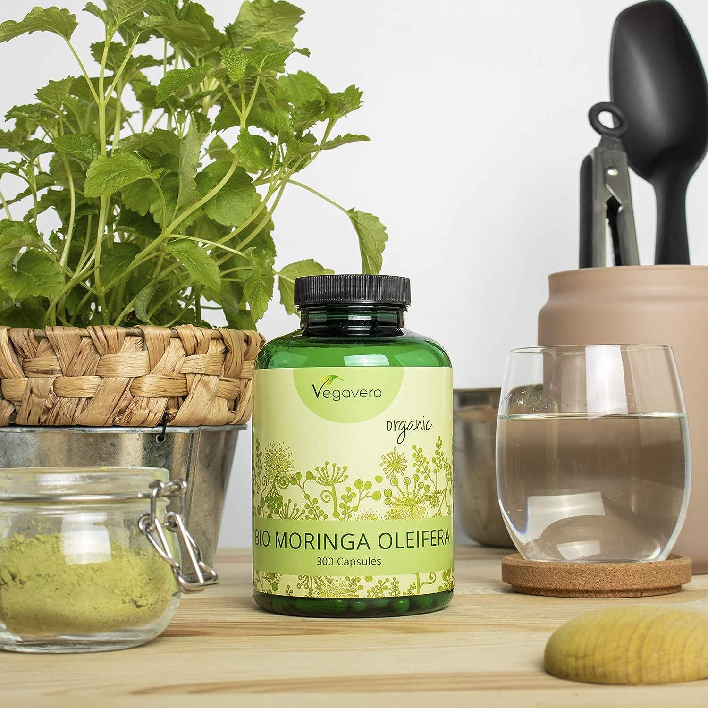 BIO Moringa Oleifera Vegavero® | 300 CÁPSULAS | 1600 mg | Superfood: Proteínas, Vitaminas, Minerales y Omega 3 | Antioxidante | SIN ADITIVOS | Vegano