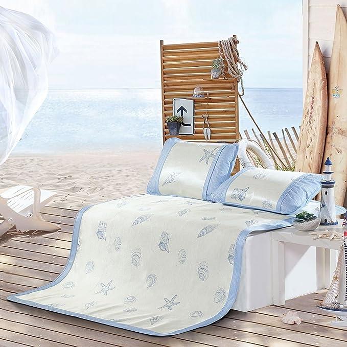 Wghwww Textil para el hogar Alfombra de Seda de Hielo Alfombra de Tres Piezas Alfombra Plegable Dormitorio Vida Marina (Tamaño : 120 * 195cm): Amazon.es: ...