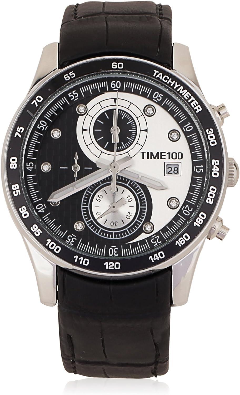 Time100 Reloj de Cuarzo en símbolo Tai Chi con Doble Esfera pequeña para Hombre W80151G (Plateado)