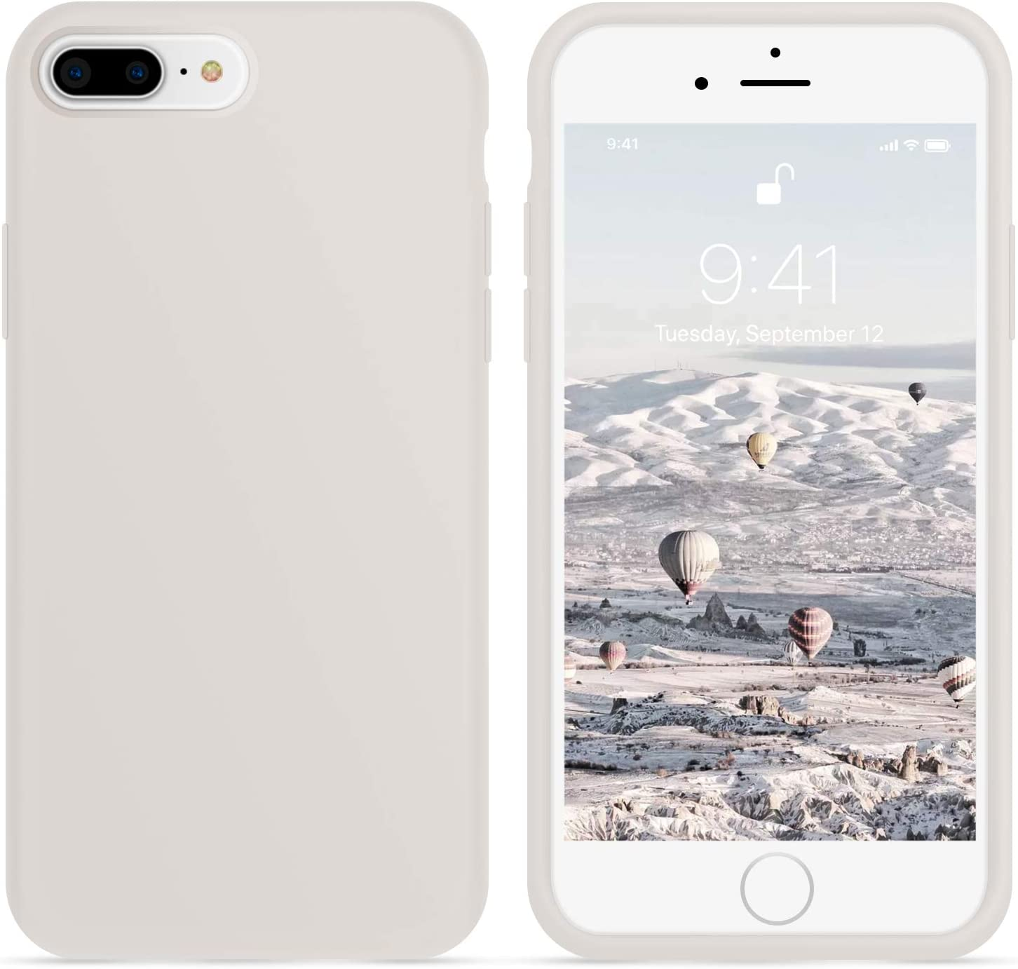 OTOFLY iPhone 8 Plus Case,iPhone 7 Plus Case,[Silky and Soft Touch Series] Premium Soft Silicone Rubber Full-Body Protective Bumper Case Compatible with iPhone 7/8 Plus (White Stone)