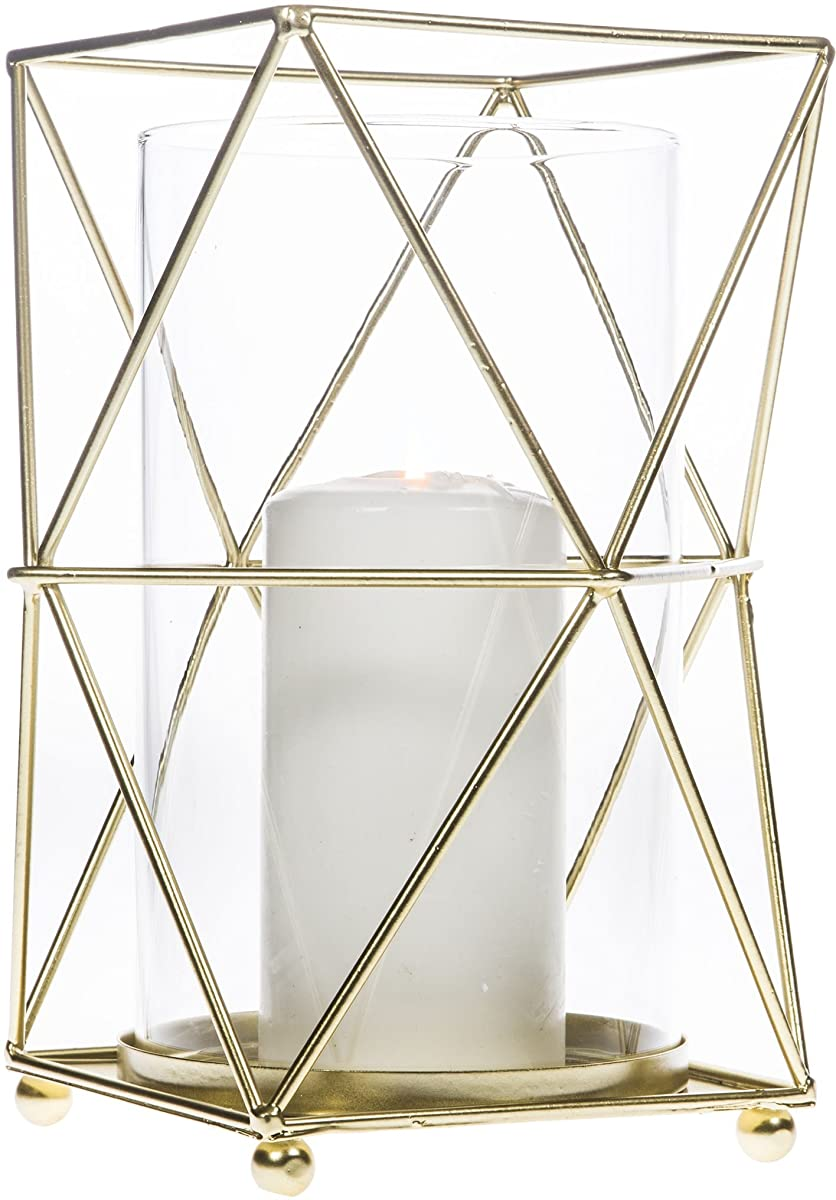 Sparkling Gold Hurricane Candle Holder, Geometric Polyhedron Metal Wire with Glass Insert for Votive Candlestick. Ideal for Tea Light Table Centerpieces, Wedding Banquet, Party & Classic Patio Lantern
