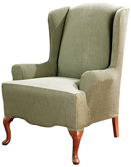 Genial Sure Fit Stretch Stripe   Wing Chair Slipcover   Sage (SF37757)
