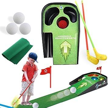 Tosbess Juegos Aire Libre Mini Golf Trolley Juguete de Jardin Palos de Golf Regalo para Niños 3 4 5 6 Edades: Amazon.es: Juguetes y juegos