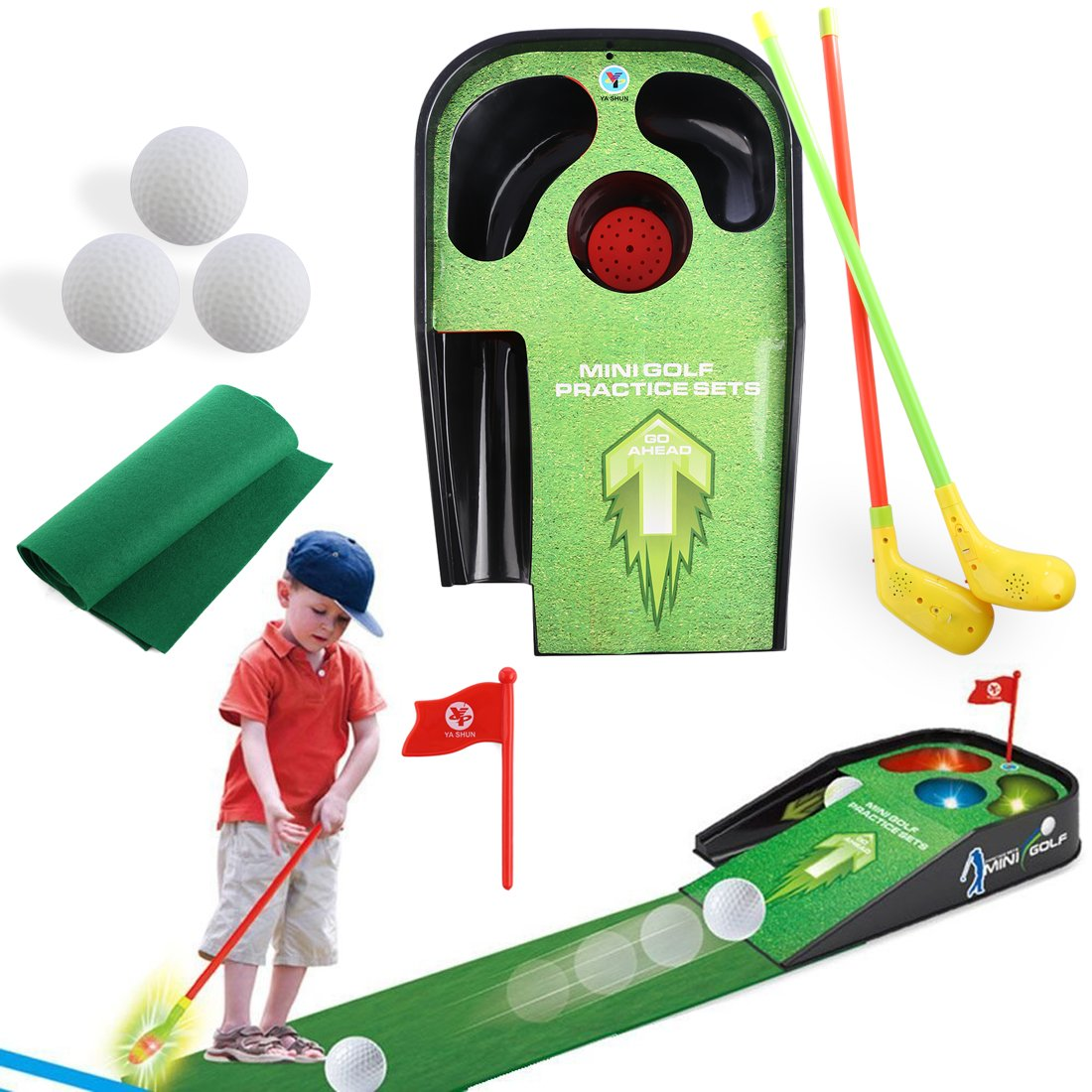 RuiyiF Golf Toys Clubs Set for Kids Toddlers Boys Girls Adults Comes with 2Golf Clubs,1Golf Ball, 1Ball Table, 1Carpet,1Flag by RuiyiF