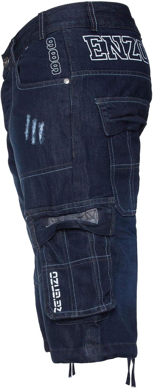 Enzo Jeans Mens Shorts Raw Combat Cargo Pockets Casual Knee Length Denim Pants