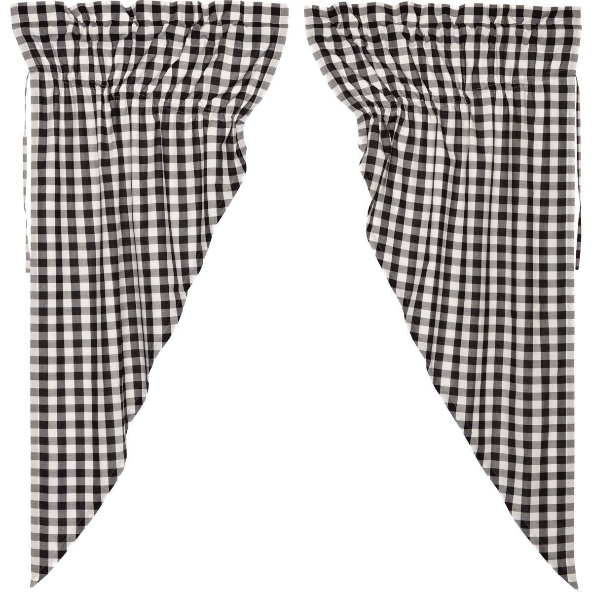 VHC Brands Classic Country Farmhouse Window Annie Buffalo Check White Lined Prairie Curtain Pair Black