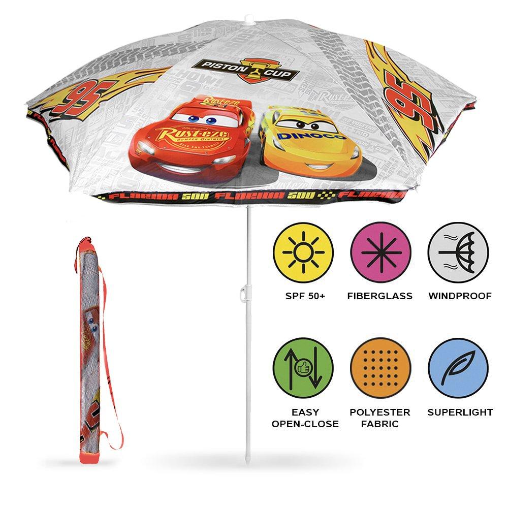 PERLETTI 50525 - Sombrilla para Niño Disney Pixar Cars, Parasol Blanco en Poliéster, Diámetro 125 cm, Protección contra los Rayos UV FPS 50+ Perletti S.P.A.