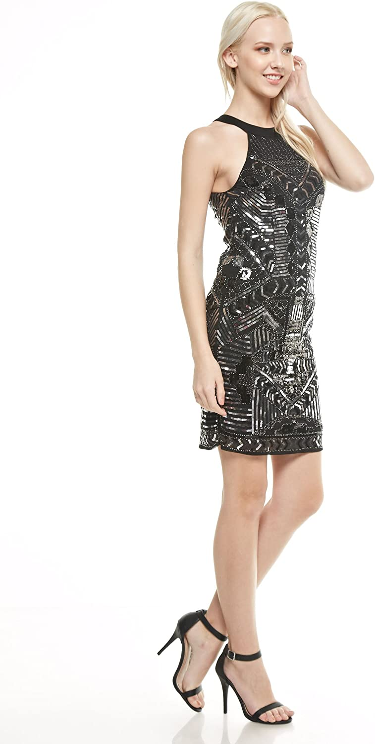 Textured a Back Keyhole and Sequin Detailing Sleeveless Short Dress in a Body-con Style with a Crew Neck Verty