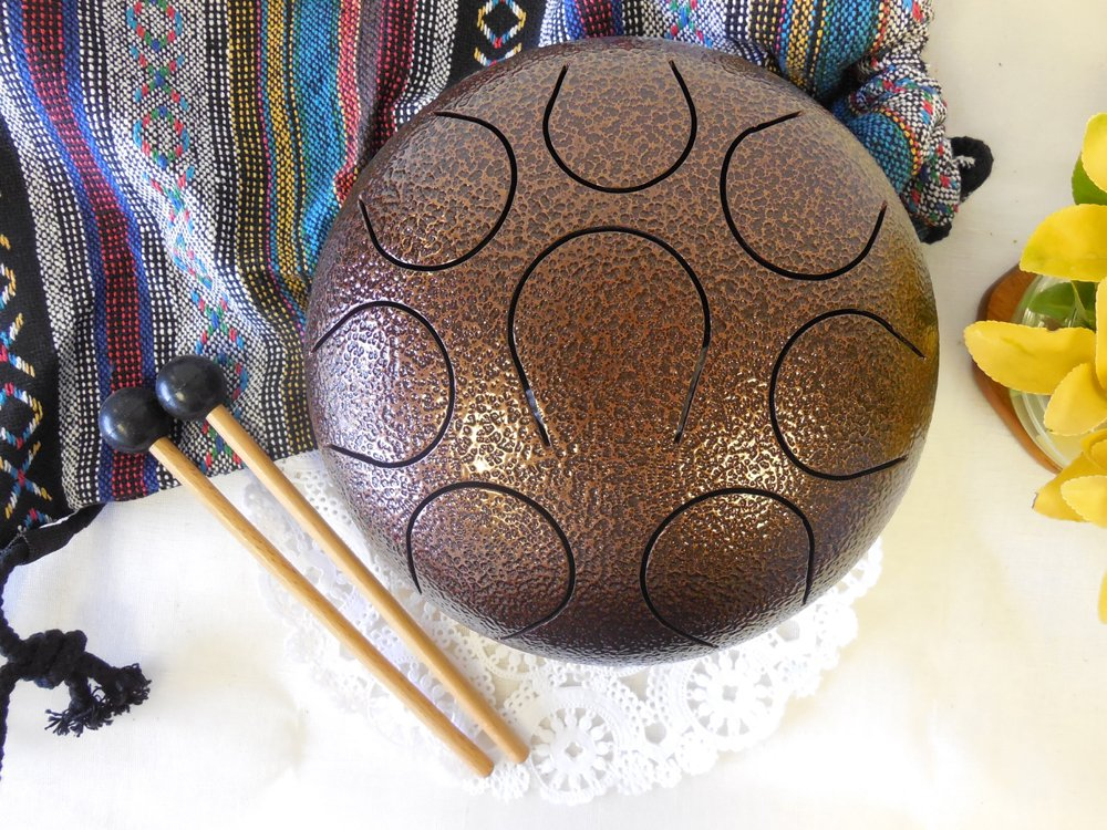 WuYou 8''19cm Steel Tongue Drum handpan, Chakra drum,hand tuned perfect Sound Healing, Metal Red