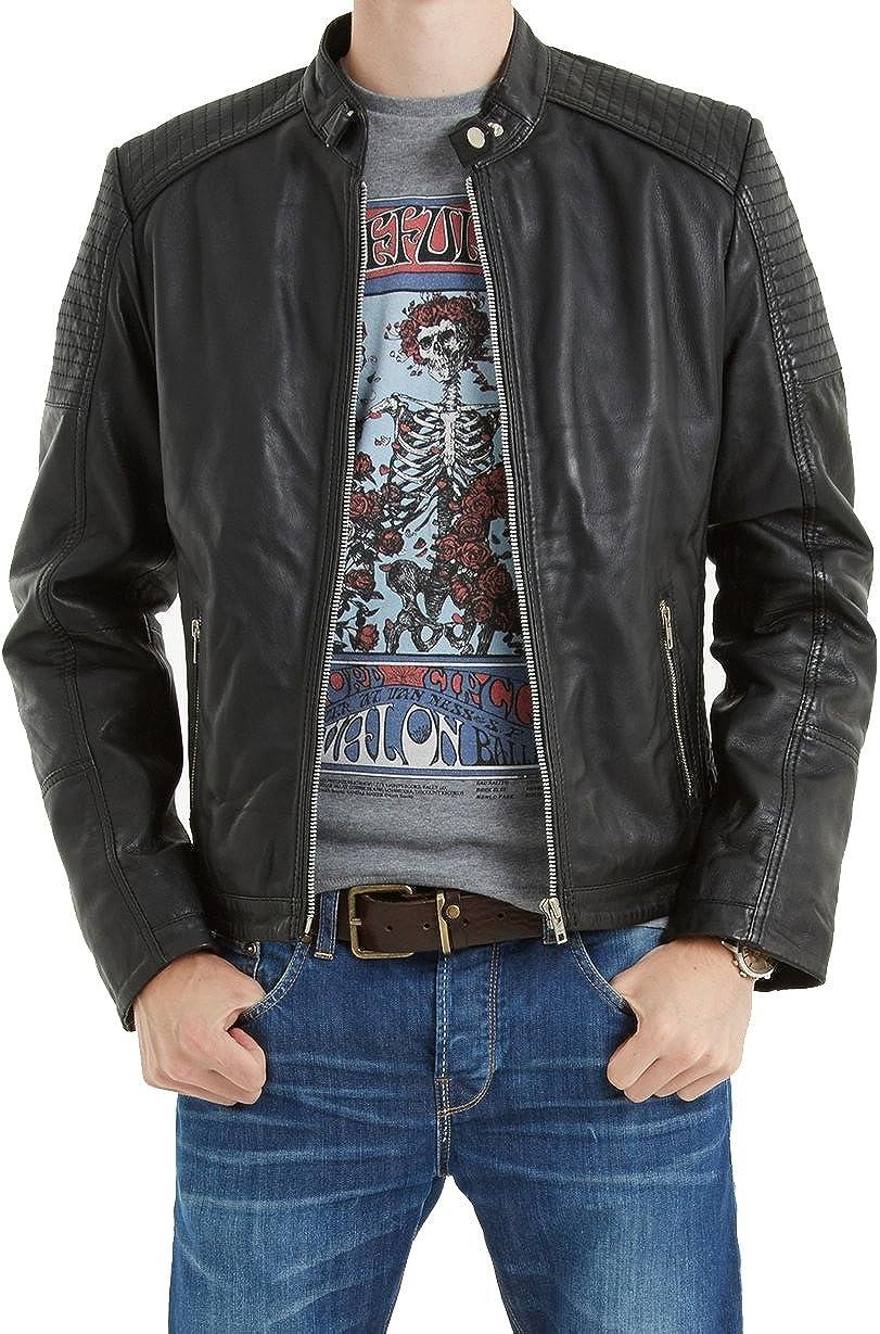 Mens Genuine Cow Leather Jacket Slim Fit Biker Motorcycle Jacket LTC246