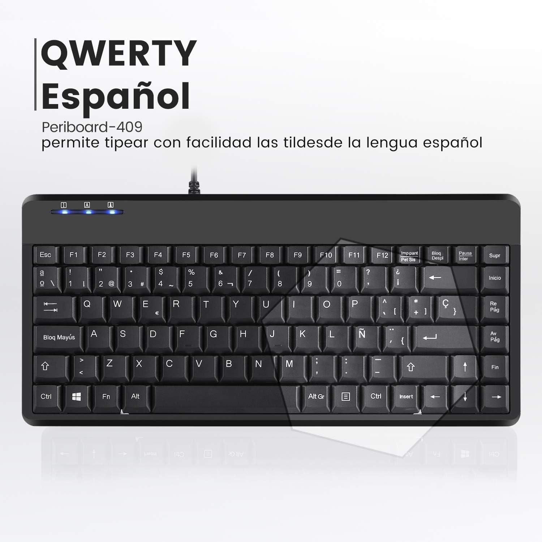 Perixx PERIBOARD-409 Mini Teclado QWERTY Español, Negro (USB)