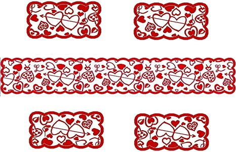 Amazon Com Doublewood Valentine Table Runner With 4 Pack Love Heart Pattern Lace Placemat Valentine S Day Table Decoration Table Runner For Valentines Day And Wedding Party Supplies Home Kitchen