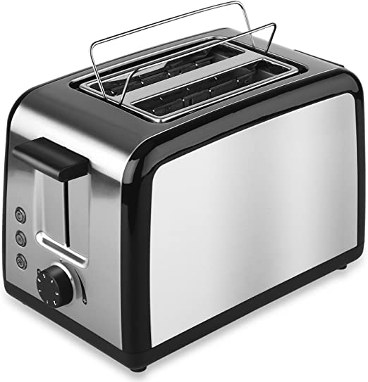 Stainless Steel 2 Slice Extra Wide Slot Sandwich Toaster Defrost//Reheat//Cancel
