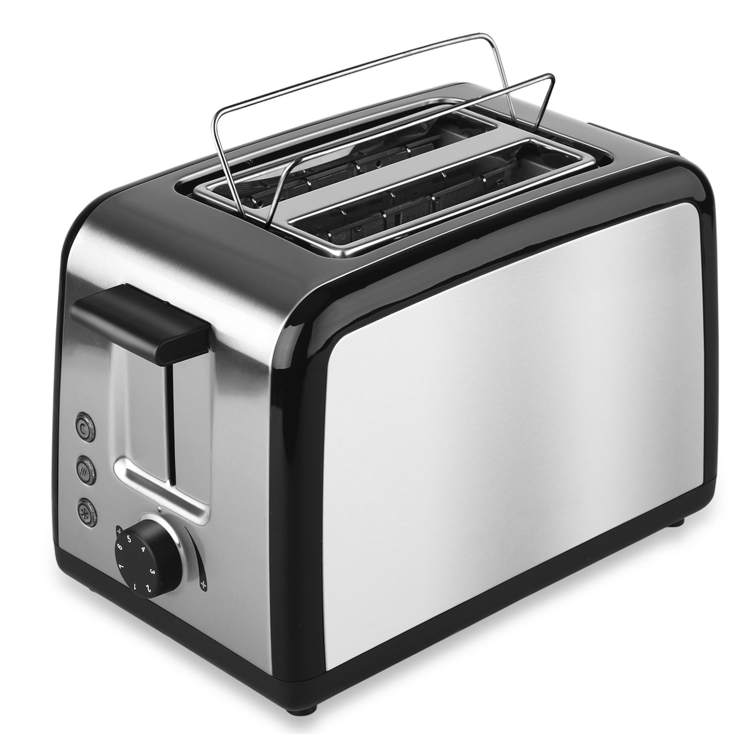 Toasters 2 Slice, Brushed Stainless Steel Bread Toaster With Warming Rack Defrost Reheat Cancel Buttons
