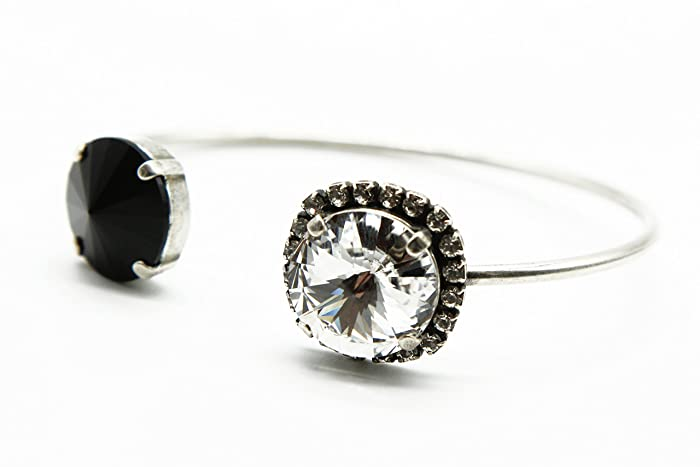 a209ccc13 ... image unavailable image not available for color black and clear  swarovski crystal elements open cuff bangle ...