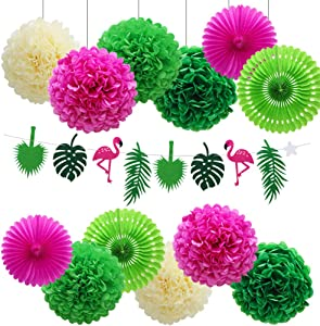 Hawaiian Party Decorations Flamingo Green Palm Leaf Banner with Pom Poms Paper Flowers Tissue Paper Fans for Luau Tropical Jungle Beach Safari Party Supplies Theme