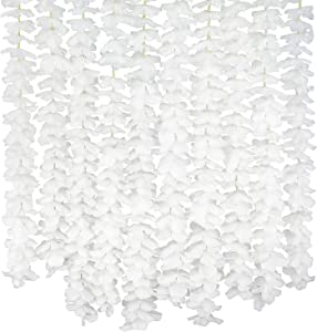 10 Pack(Each 78.7inch)(Total 65.6Feet) Artificial Silk Wisteria Fake Hanging Flowers Vine Plants Leaf Garland for Wedding Party Garden Outdoor Greenery Office Home Wall Decoration White
