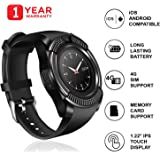 JSTBUY Original V8 Round Touchscreen Bluetooth Smartwatch Compatible with Android, iOS and All 3G, 4G Mobile Phones Wrist Watch with Camera and Sim Card Support (Black)