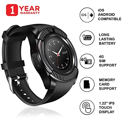 JSTBUY LABEL V8 Round Touchscreen Bluetooth Smartwatch with Camera and SIM  Card Support Compatible with Android, iOS and All 3G, 4G Mobile Phones