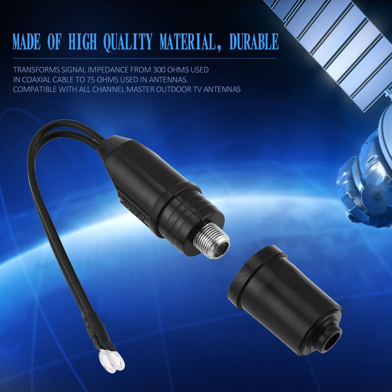 1 unids 18 cm Antena de TV 300 a 75 Ohm Cable Coaxial Que Hace Juego el Transformador UHF/VHF / FM Modelo 300 a 75 Ohm TV Converter: Amazon.es: Electrónica