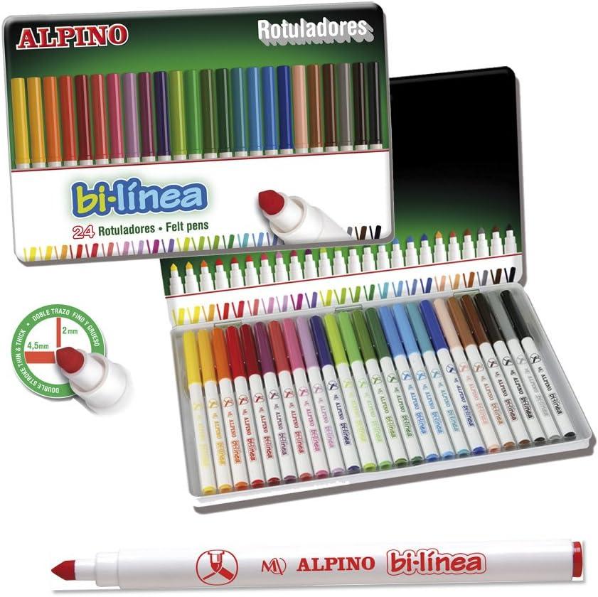 Alpino - Estuche de Metal con 24 rotuladores (Massats AR000131): Amazon.es: Equipaje