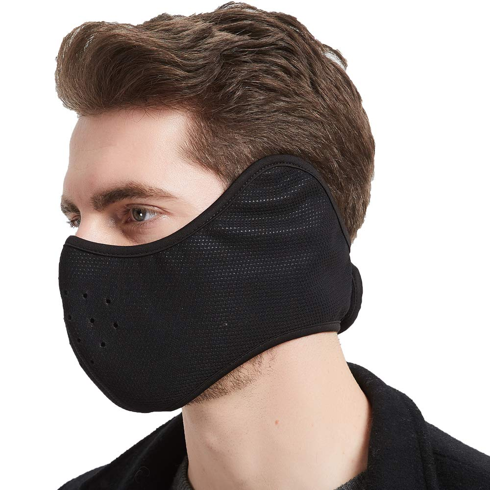 Winter Face Mask for Men Women Fleece Windproof Half Face Mask with Earflap for Outdoor Sport