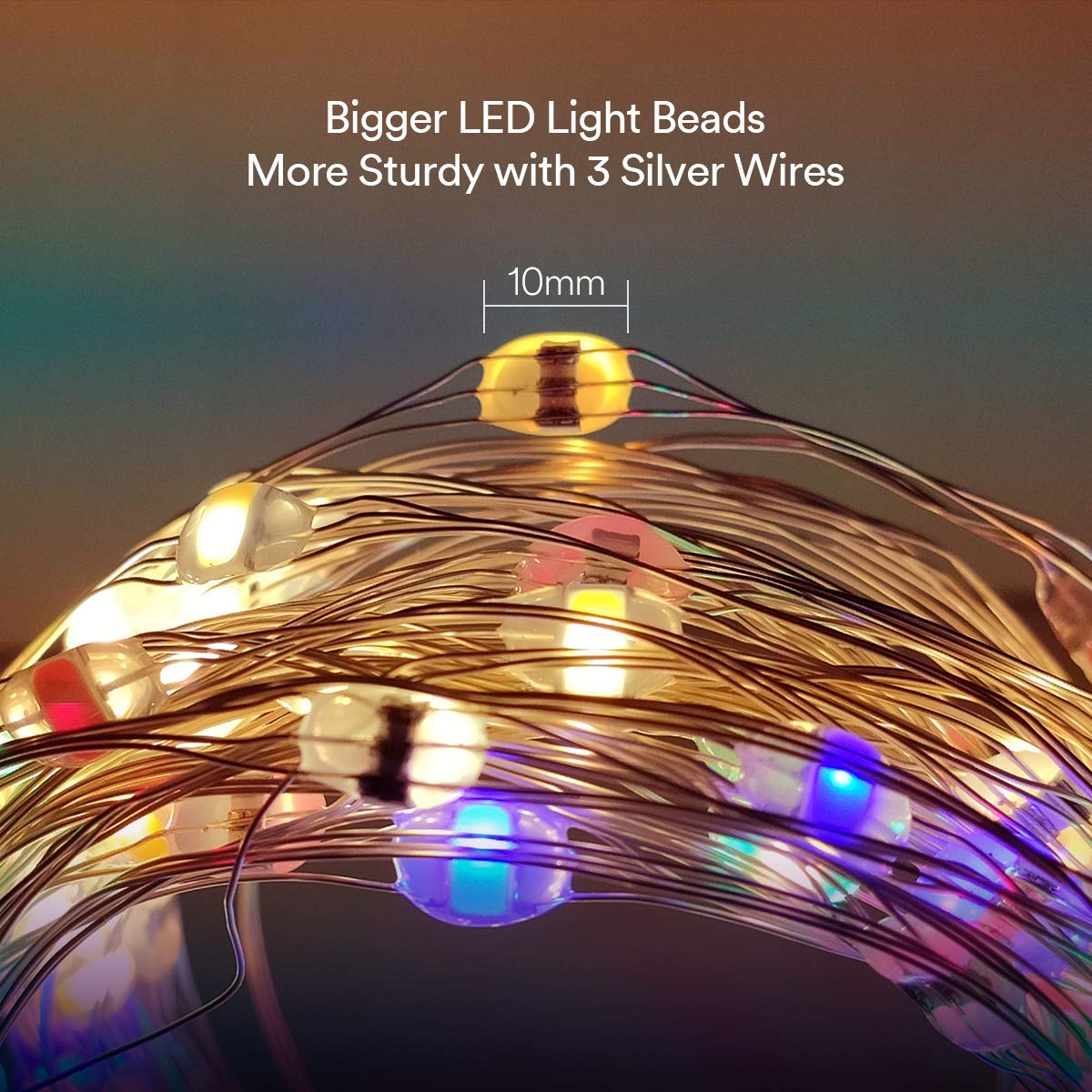 Lumary Music Sync 100 LED 33ft String Light, Battery Powered Dimmable Fairy Lights with Timer and Remote Control, Waterproof Decorative Lights for Bedroom, Patio, Garden, Parties, Wedding, Christmas