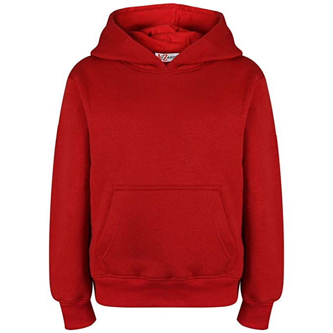 1e94d7e9888 Kids Girls Boys Sweat Shirt Tops Plain Red Hooded Jumpers Hoodies Age 2-13  Years  Amazon.ca  Clothing   Accessories