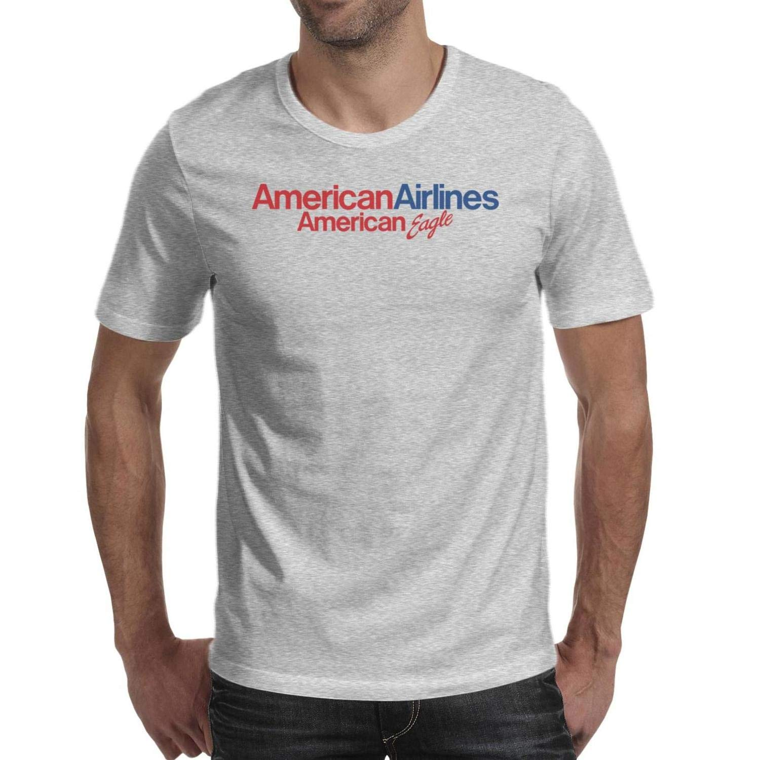 T-Shirts Male American-Eagle-Airline-Logo-Symbol Pure Pocket Loose Blending
