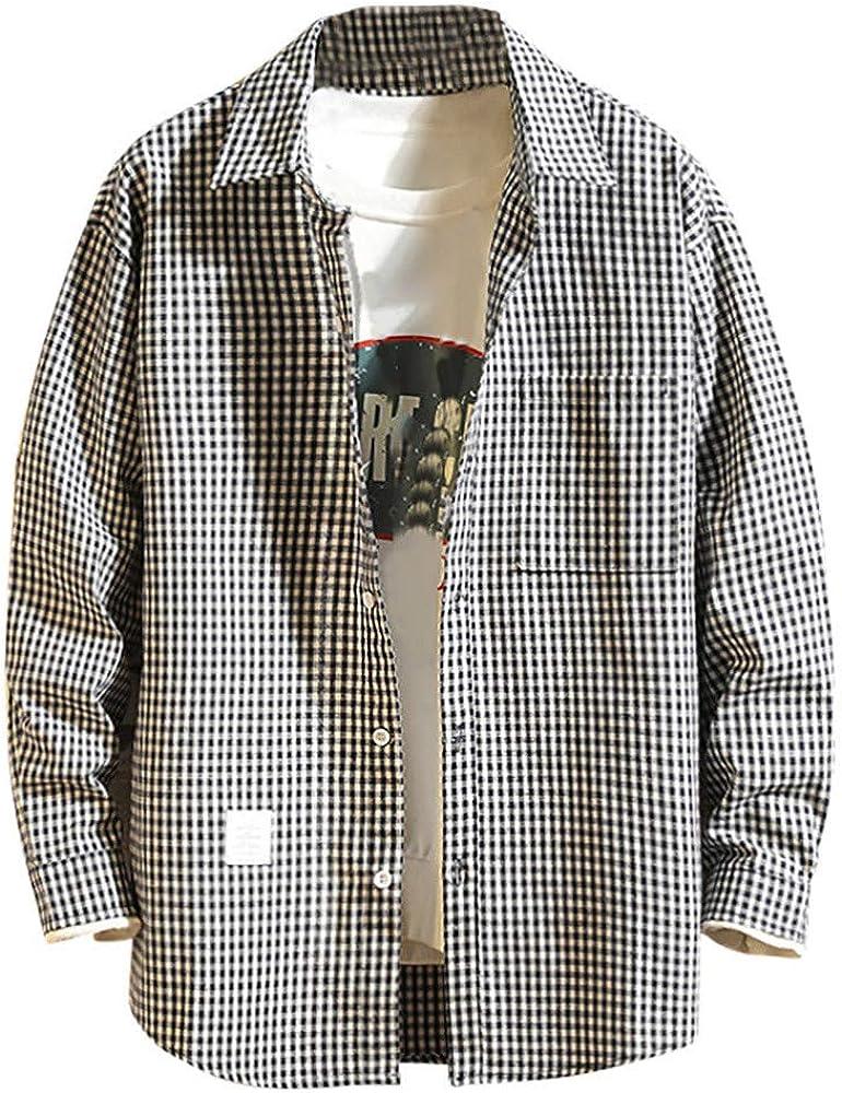 CAOQAO Camisa Hombre Manga Larga Impresión a Cuadros Sueltos Dos Colores: Amazon.es: Ropa y accesorios